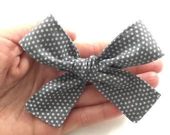 Gray Polka Dot Bow