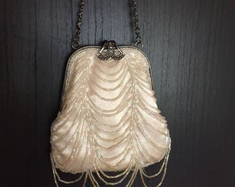 Delicate Beaded Vintage Wedding Purse or Evening Bag Off White Delicate Handbag With Iridescent Beading Silver Tone Wrist Chain
