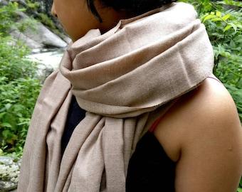 Beautiful large natural no dye pashmina and soft himalayan wool blend scarf, shawl,neck scarf, wool scarf