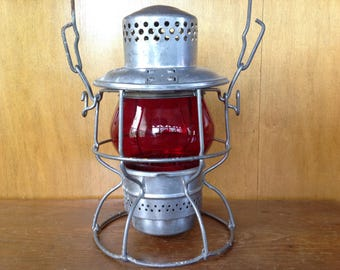 Vintage Adlake Kero Railroad Lantern with MoPac Red Globe