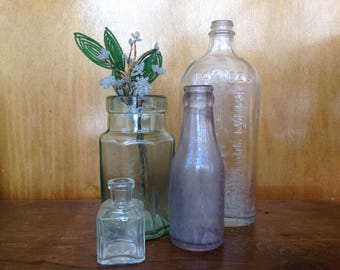 Collection of 4 Antique Bottles