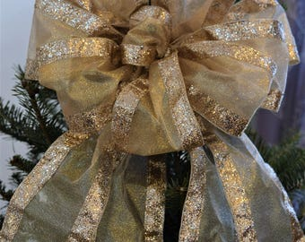 Gold Glitter Bow, Gold Christmas Bow,Tree Topper Bow, Wreath Bow, Decorative Bow, Holiday Bow