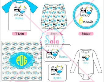 Cow Digital Papers, Cow stickers, Cow logos, Cow Patterns for Design,Printing & Embroider  (PNG, JPEG)