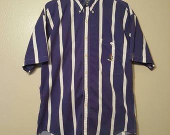Vintage Blue Striped Chaps Ralph Lauren Button up