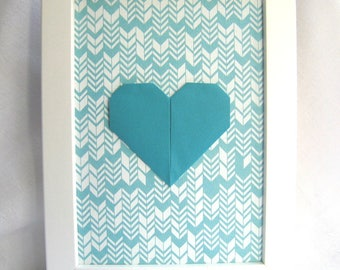 "Hanger - heart origami - turquoise graphic white background and turquoise - Collection ""My heart, my love""."