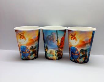 Ninjago paper cups 10 pcs. Paper cups for children's holiday or birthday. Set for children's holiday, party or birthday. Ninjago party.
