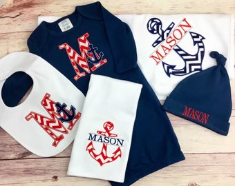 Nautical Baby Boy, Sailboat Baby, Baby Anchor, sailboat baby, bahy boy gown with Hat, burpcloth, Personalized baby, Baby Boy Newborn, Boy