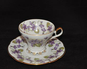 Mitterteich Bavaria Germany Tea Cup and Saucer, Violet Forget Me Nots