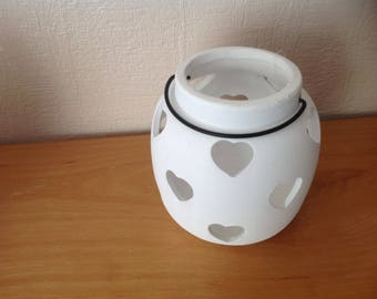 Pretty white ceramic candle with hearts