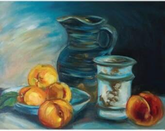 Still life painting, peach painting, blue