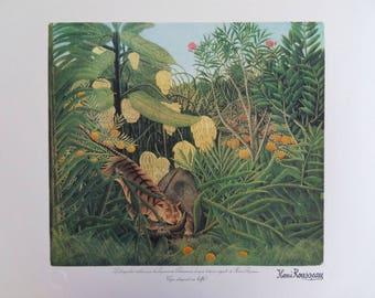 The customs officer ROUSSEAU (Henry): Tiger devouring a Buffalo - original LITHOGRAPH #1976