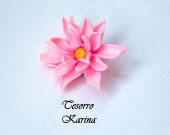 """Brooch """"Gentle lotus"""", brooch made of polymer clay, brooch with pink lotus, buy brooch, brooch as a gift, a gift to a girl"""