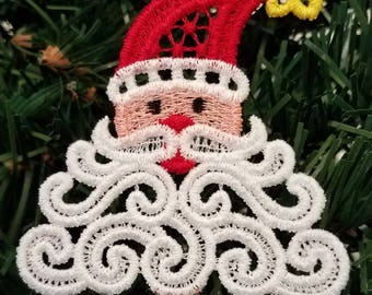 Free standing lace Christmas ornament, santa ornament, Christmas card insert, machine embroidered