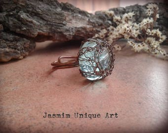 Green crochet copper wire ring Wire crochet ring Copper wire ring Green crochet ring Adjustable copper ring Ring for woman