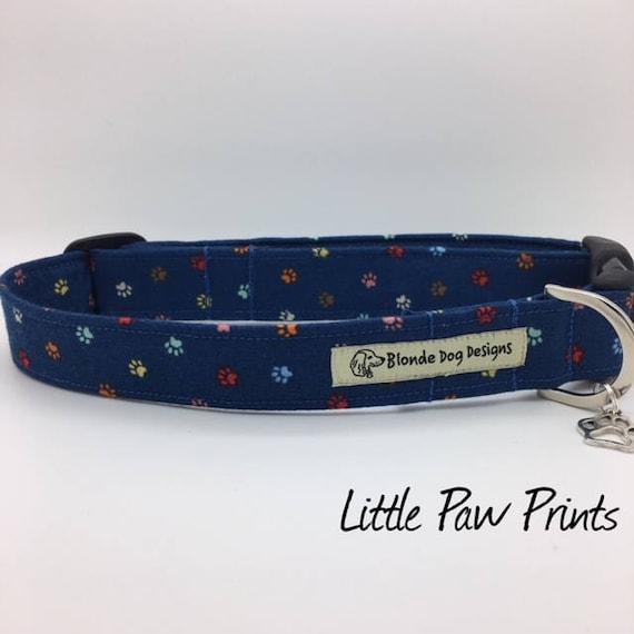 Dog Collar, or, Dog Lead, Little Paw Prints, Blue Dog Collar, Blue Dog Lead, Luxury Dog Lead, Luxury Dog Collar