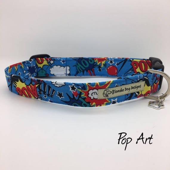 Superhero Dog Collar, or, Superhero Dog Lead, Pop Art, Cute Dog Collar, Dog Collar UK