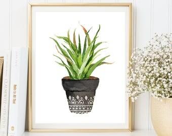 Flower Pot Print, Succulent Print, Watercolor Flower, Botanical Print, Botanical Poster, Botanical Artwork, Tropical, INSTANT DOWNLOAD
