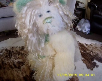 Erika (winged cloven hoofed goat bear) Wintery handmade collectible soft sculpture/artist bear, (ALSO FREE STANDING!)