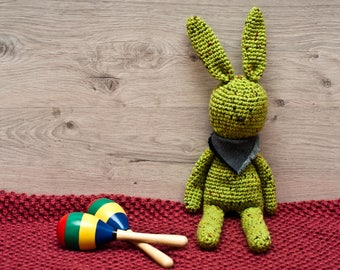 Free shipping Crochet Green Bunny Rabbit Stuffed Toy Woodland Animal Plushie Gift For Her Gift For Him Anniversary Gift Cozy Toy Plushie