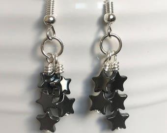 Star Dangles-Star Dangle Earrings-Hematite Dangles-Star Shaped Earrings-Black and Silver Earrings-Black and Grey Dangles-Handmade Dangles