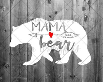 Mama Bear with red heart and arrow decal- car decal - window decal - laptop decal - tablet decal - mama bear, boho mama bear, arrow decal