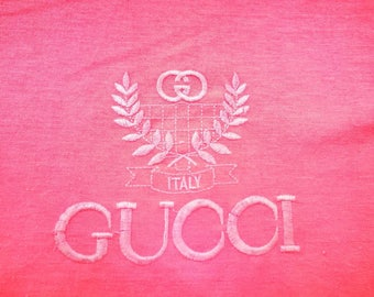 Vintage Gucci embroiled spellout bootleg T shirt size M ll OG  champion jacket nike windbreaker kappa pant adidas fila trainer reebok jumper
