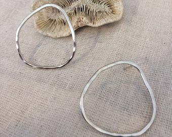 Irregular pebble earrings in sterling silver