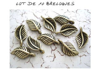 set of 10 charm minimalist bronze leaf