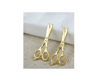 SET of 10 charms golden scissors sewing seamstress (S34)