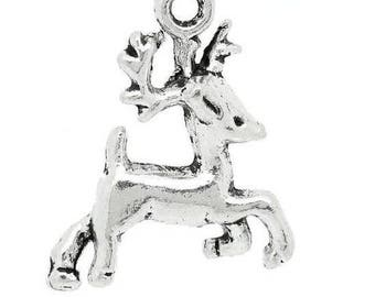 SET of 5 reindeer Christmas Moose charms silver plated (D32)