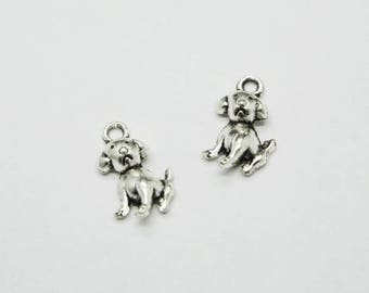 SET of 3 Silver dog charm (D75)