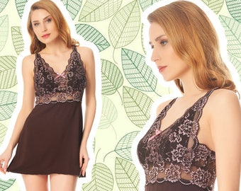 Viscose chocolate pajamas with lace (for Women) - nightgown, sleepwear