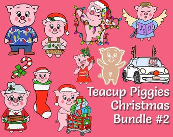 Teacup Piggies - Christmas Bundle #2 - Mini Planner Stickers - Christmas Stickers - Holiday Stickers - Seasonal Stickers - Winter Holiday