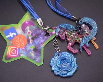 Kawaii MLP Multi Color Glitter Charm Necklace