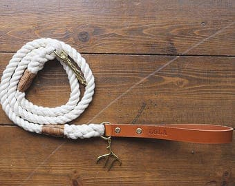 Classy Caramel/Mid-Tan Rope Dog Lead with Leather Handle and Charm