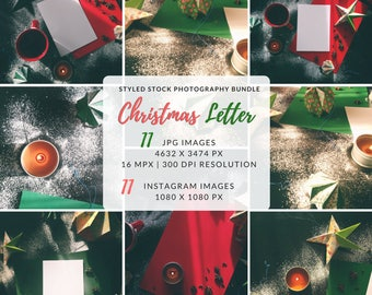 Christmas Styled Stock, Christmas Photo Bundle, A4 Blank Page, A4 Mockup, Styled Stock Bundle, Instagram Package, Social Media Bundle
