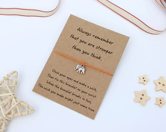 Elephant Wish Bracelet, Elephant Strength Bracelet, Elephant Jewellery, Elephant Gift, Elephant Friendship Bracelet, Elephant Keepsake Card