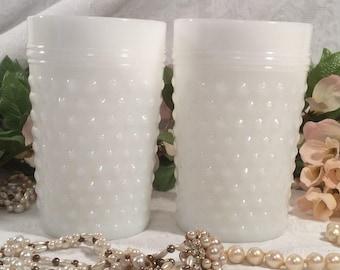 Anchor Hocking White Milk Glass Juice Glasses, Hobnail Pattern, pair of (2)