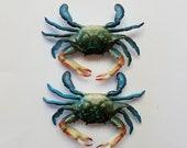 2 Blue Crab Refrigerator Magnets, Free Shipping (18557), Blue Crab Magnets, Pendantlady,pq