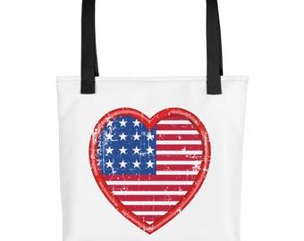 American Flag In A Heart I Love America Tote bag