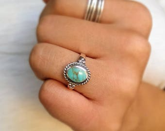 Sterling silver turquoise ring/boho turquoise ring/December birthstone ring/vintage silver ring/navajo turquoise ring/bohemian silver ring