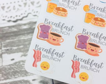 Breakfast Brunch Sticker | Breakfast Sticker | Brunch Sticker | Bacon Egg Sticker | Pancake Sticker | Cereal Milk Sticker | Food Planner Sti
