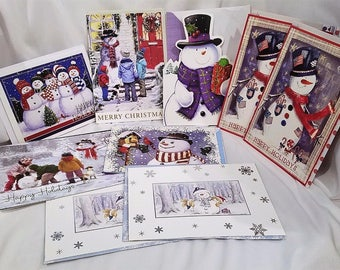 Snowman Christmas Holiday Greeting Cards, Set of 9