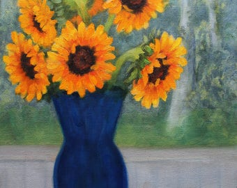 Sunflowers in Window Oil Painting
