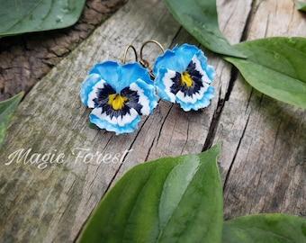Pansies earrings, Pansy flower earrings, polymer clay flowers, blue pansies earrings, vintage bronze jewelry, gift for girl