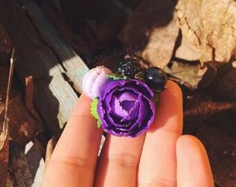purple peony, flowers brooch, purple peony brooch, shabby chic jewelry, polymer clay peony, jewelry handmade