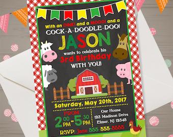 Farm Birthday Invitation Barnyard Invitation Farm Invitation Old McDonalds Invitation Country Birthday Party Chalkboard Barnyard Invite