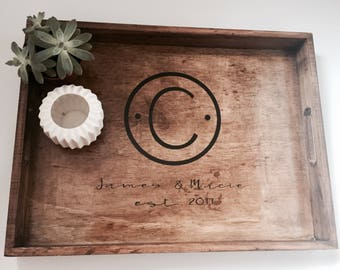 Monogrammed Wooden Tray-Personalized Tray-Decorative Tray