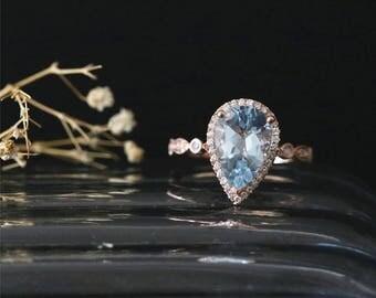 Art Deco Gemstone Ring Natural 3.0ct Aquamarine Ring March's Birthstone Ring Halo Ring Bridal Ring 14K Rose Gold Aquamarine Engagement Ring