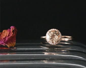 Natural 7mm Round Cut Peach Morganite Ring Gemstone Bridal Ring Halo Ring Stackable 14K Rose Gold Classical Morganite Engagement Ring